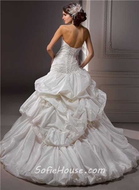 Sexy ball gown off the shoulder ivory taffeta lace beaded for Off the shoulder taffeta wedding dress