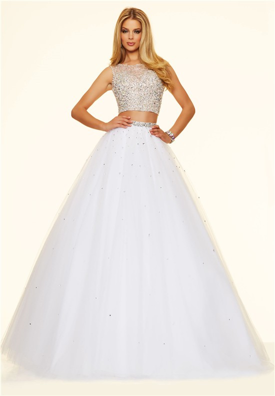 Ball Gown Open Back Two Piece Long White Tulle Beaded Prom Dress