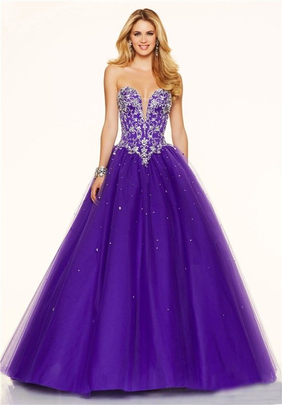 sexy ball gown plunging neckline corset back purple tulle