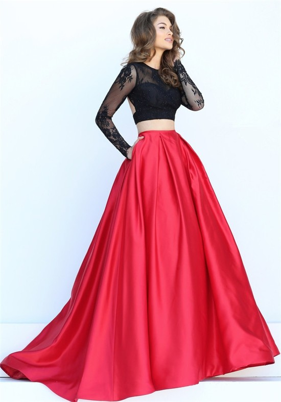 d6cf7f66acb1 Sexy Ball Gown Two Piece Backless Long Black Lace Sleeve Red Satin Prom  Dress With Pockets