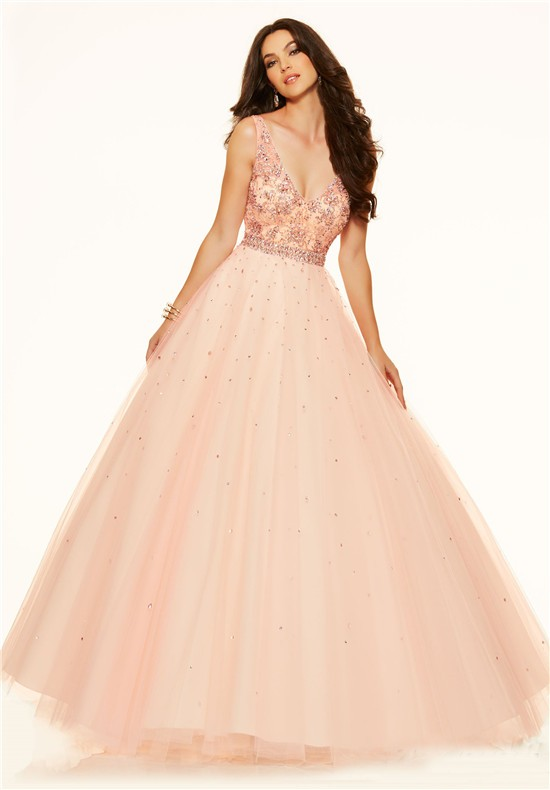 Ball Gown V Neck Low Back Pink Champagne Tulle Beaded Prom Dress