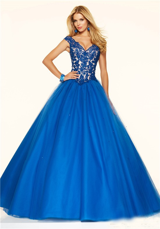 Ball Gown V Neck Royal Blue Tulle Lace Beaded Prom Dress
