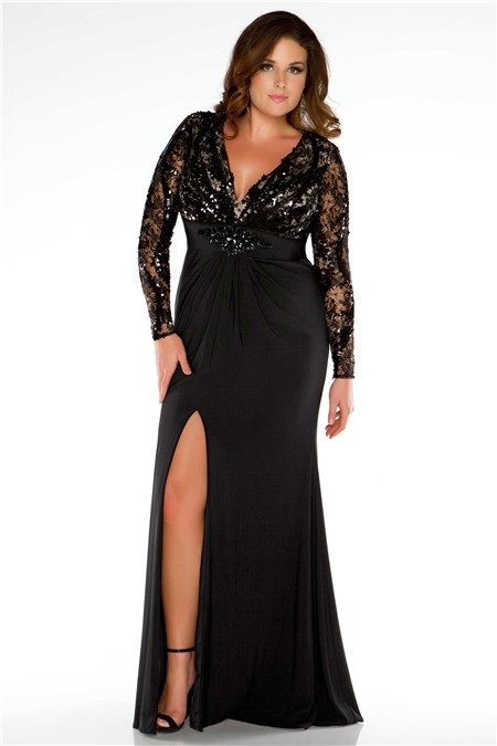 Cut Out Back Long Black Jersey Lace Plus Size Evening Prom Dress ...