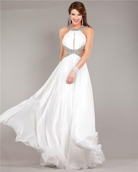 White Wedding Dress Under 500: Sexy Cut Out Backless Flowing White Chiffon Beaded Prom