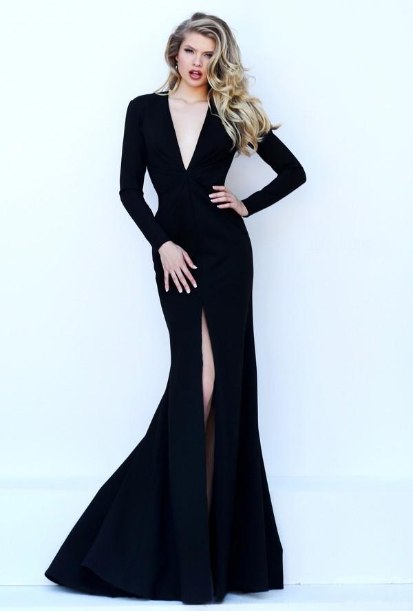 348d21cda50a8 Sexy Deep V Neck High Slit Long Sleeve Black Satin Evening Dress Open Back