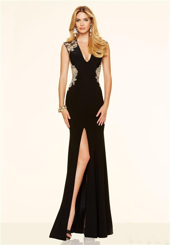 Chiffon black and gold dress