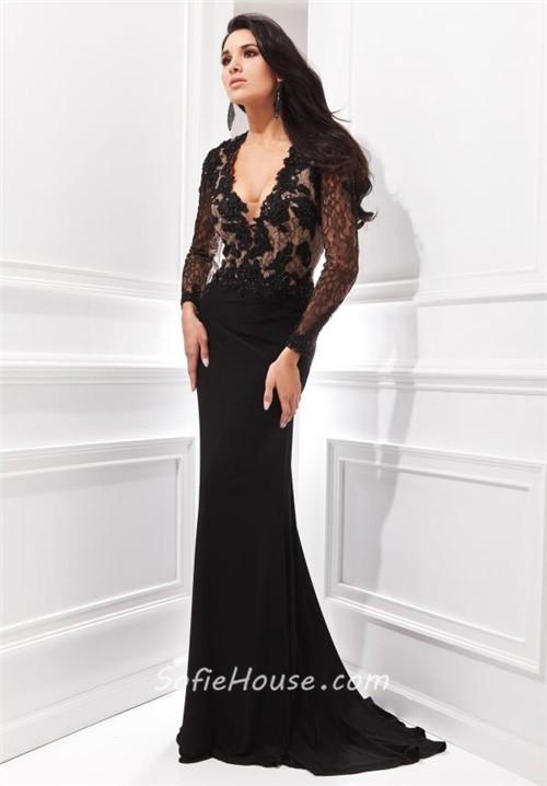 Sexy Deep V Neck Keyhole Open Back Long Sleeve Black Chiffon Lace Applique Evening Dress