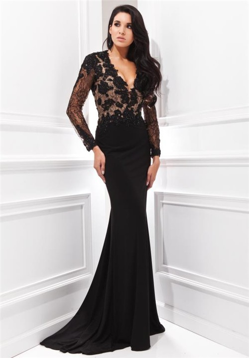 Black lace dress long with sleeves