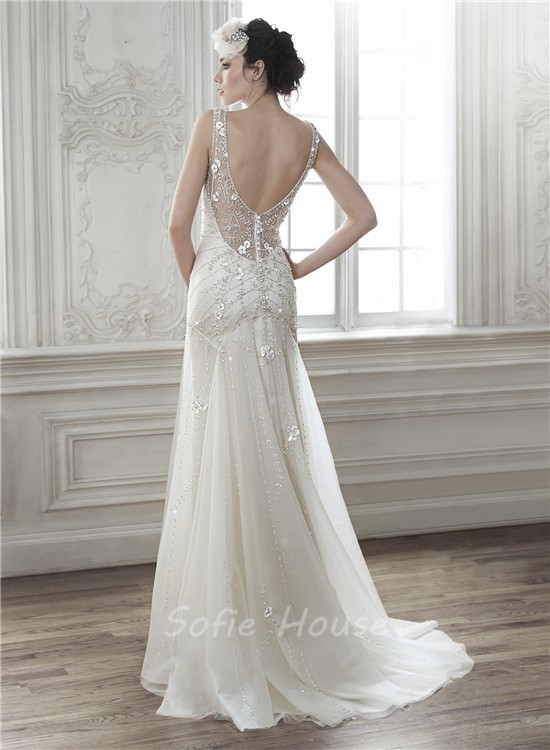 Sexy deep v neck open back tulle beaded wedding dress with for Deep back wedding dress