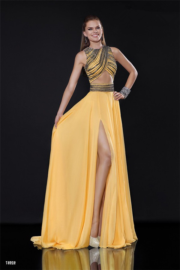 Sexy Front Cut Out High Slit Long Yellow Chiffon Beaded