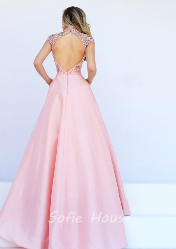 Sexy Front Cut Out Open Back Light Pink Satin Beaded Prom Dress With ...