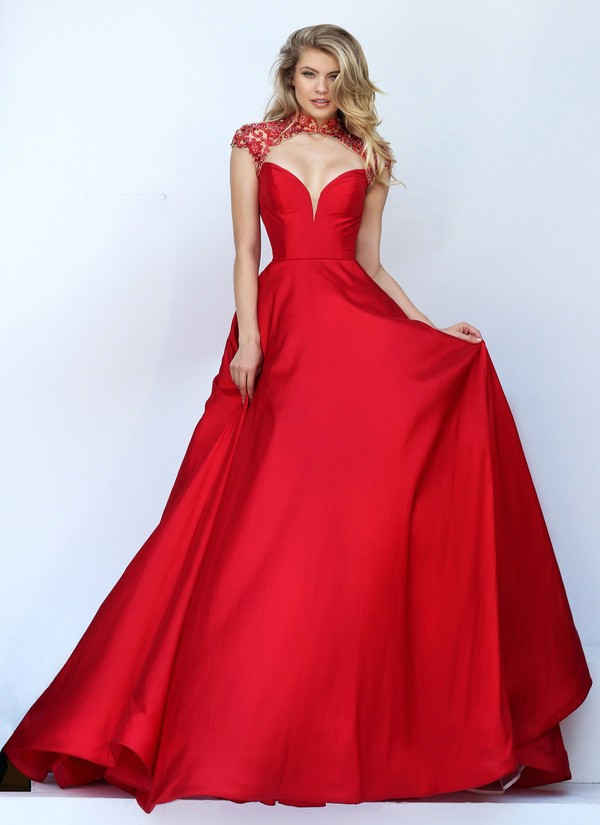 0971ca9ccfd712 Sexy Front Cut Out Open Back Red Satin Beaded Prom Dress Cap Sleeves