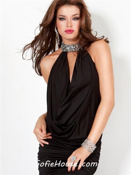 Black Ruched Cocktail Dress