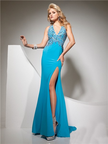 Sexy Halter V Neck Backless Long Blue Chiffon Party Prom