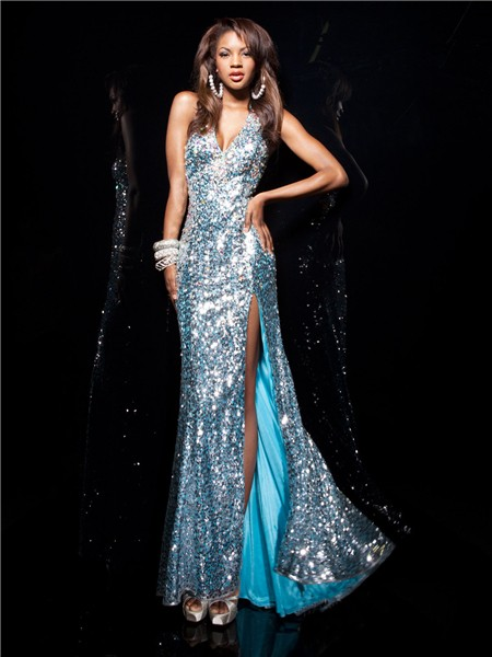 Sexy Halter V Neck Long Blue Sequined Prom Dress With
