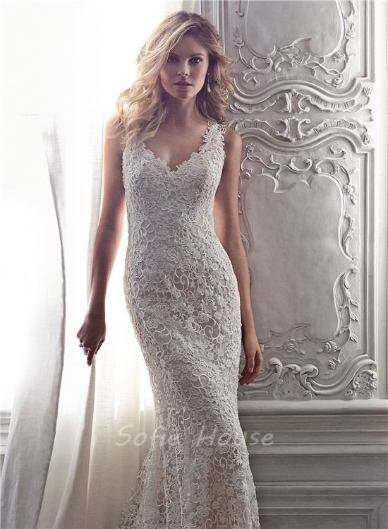 Sexy memraid v neck open back venice lace wedding dress for Sexy open back wedding dress