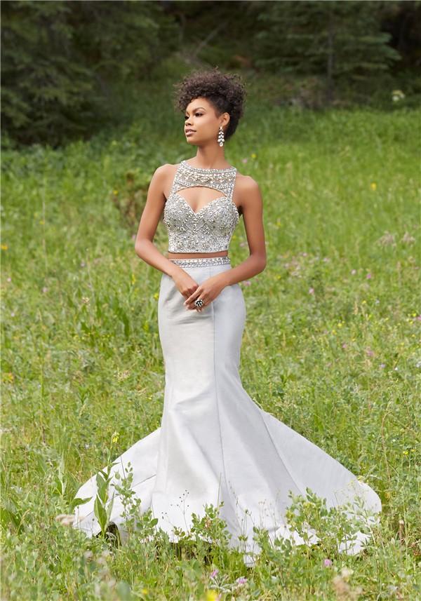 d253e88117a7 ... Sexy Mermaid Cut Out Two Piece Silver Taffeta Beaded Prom Dress ...