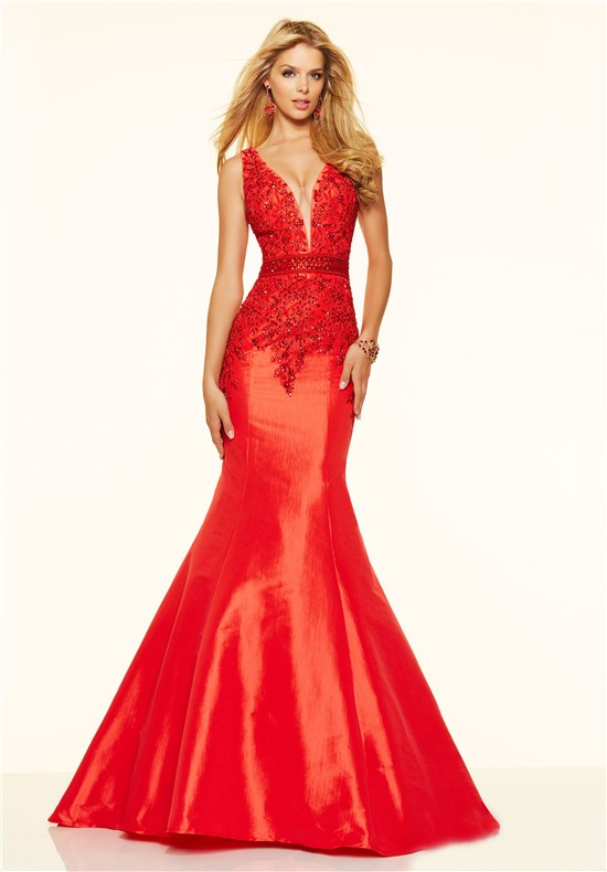 c5bb6ac3097 Sexy Mermaid Deep V Neck Low Back Red Taffeta Lace Beaded Prom Dress