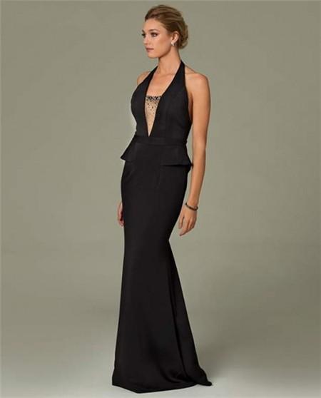 075f345c3c Sexy Mermaid Halter Plunging Neckline Backless Long Black Evening Dress