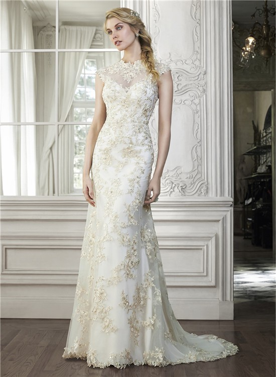 Champagne color wedding dress with high neck