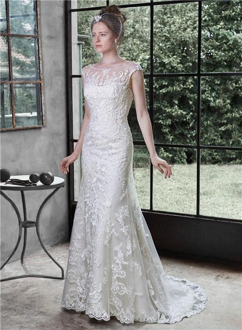 Sexy mermaid illusion boat neckline deep v back lace for Deep v back wedding dress