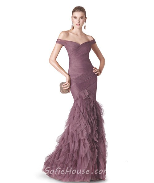 Sexy Mermaid Off The Shoulder Dusty Rose Tulle Ruffle