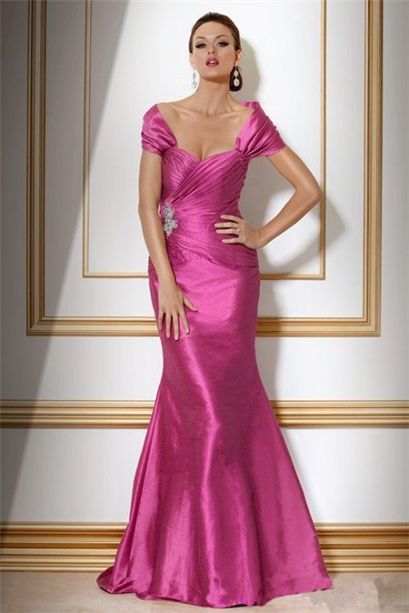 Mermaid Off The Shoulder Long Fuchsia Silk Evening Dress With Shawl