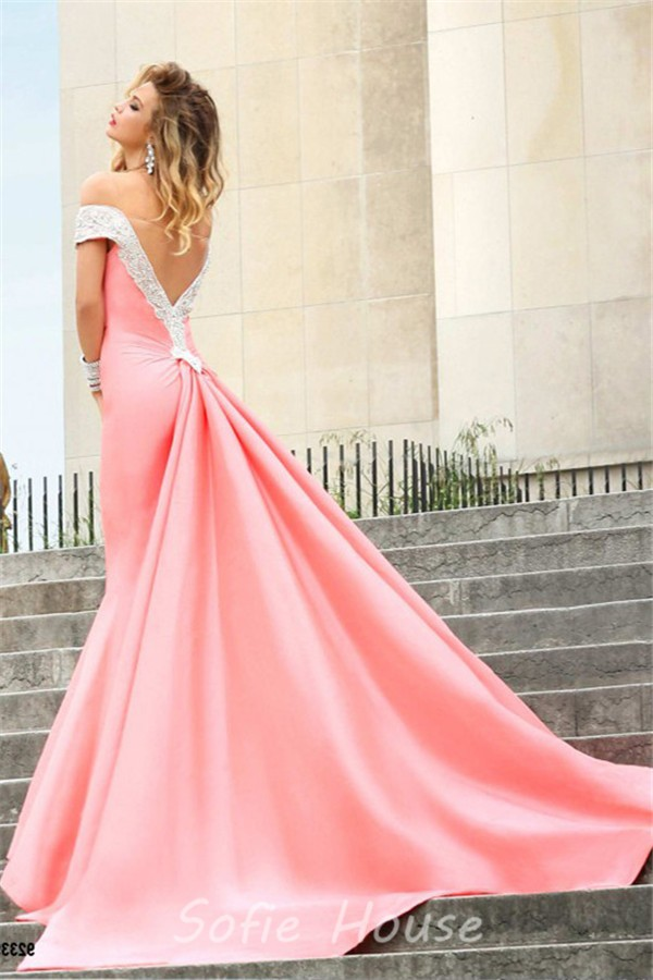 Sexy Mermaid Off The Shoulder Low V Back Light Coral Satin