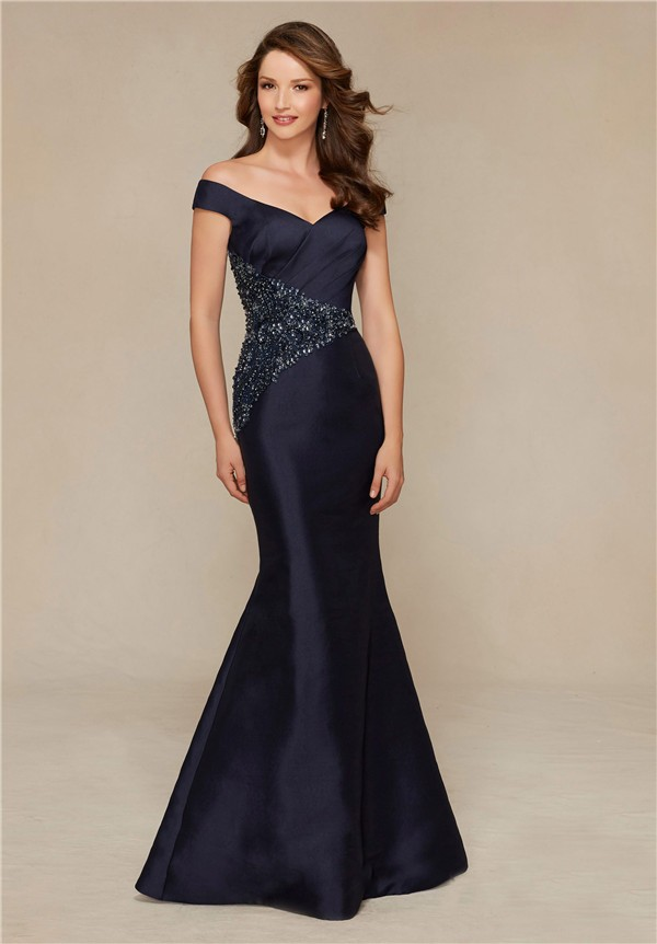 Sexy Mermaid Off The Shoulder Navy Blue Satin Beaded