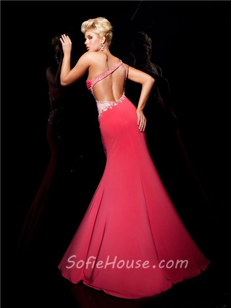 Sexy Mermaid One Shoulder Backless Long White Chiffon Beaded Prom ...