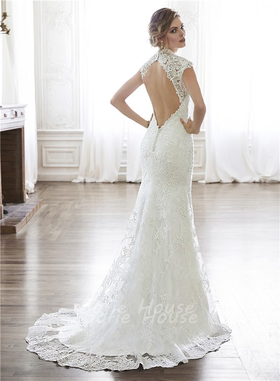 Sexy mermaid queen anne neckline cap sleeve backless lace for Lace sleeve backless wedding dress
