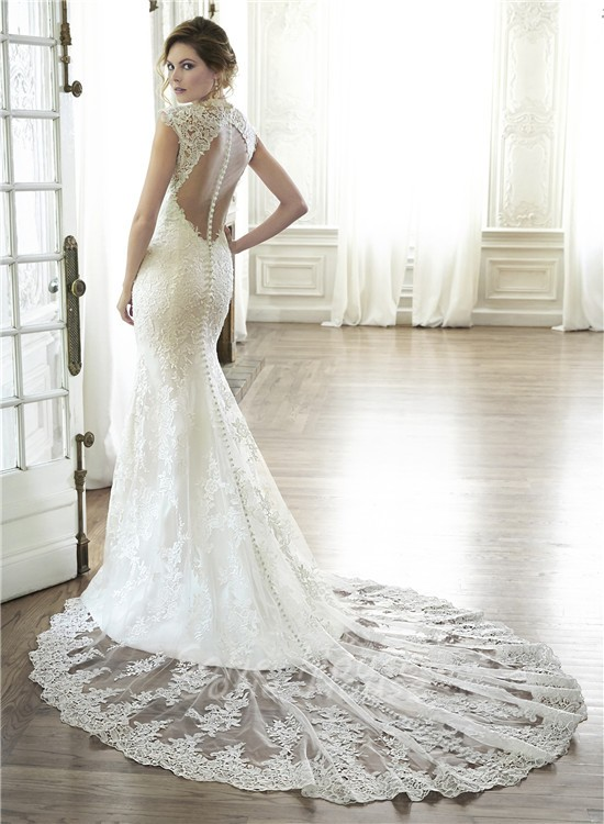 Sexy mermaid queen anne neckline illusion back lace for Lace wedding dress instagram