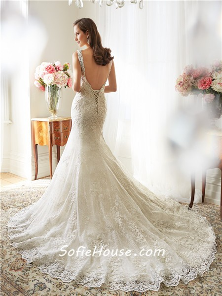 sexy mermaid scalloped boat neckline backless lace crystal