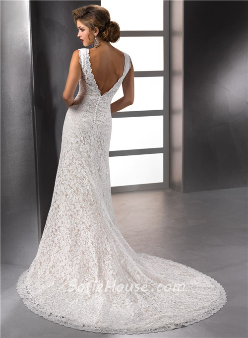 Sexy mermaid scalloped deep v neck vintage lace empire for Lace low back wedding dress