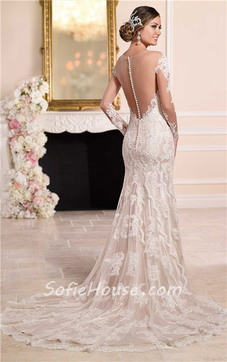 Sexy Mermaid Sheer Illusion Neckline Tulle Lace Long