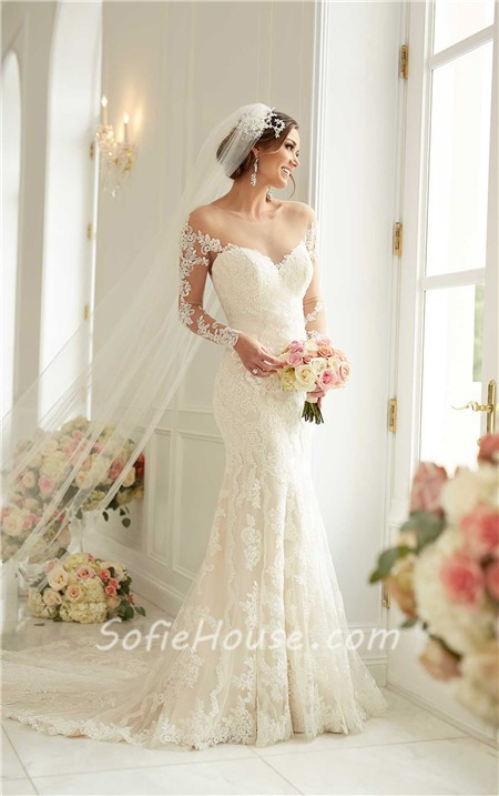 Mermaid wedding dress with illusion neckline : Sexy mermaid sheer illusion neckline tulle lace long