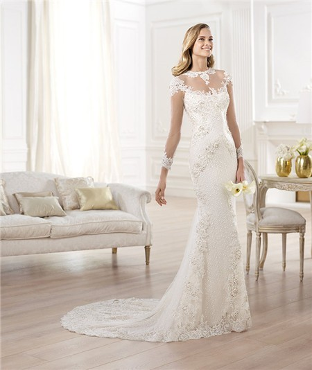 Pearl and Lace Mermaid Wedding Gowns_Wedding Dresses_dressesss
