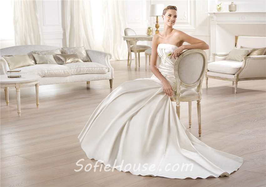 Strapless Mermaid Wedding Gown: Sexy Mermaid Strapless Off The Shoulder Low Back Satin