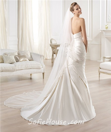Sexy mermaid strapless off the shoulder low back satin for Satin low back wedding dress