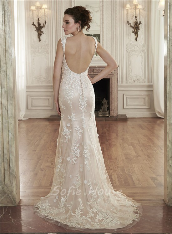 Sexy Mermaid Sweetheart Backless Champagne Lace Wedding Dress With ...