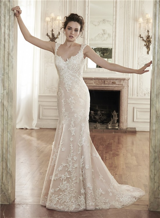 Mermaid Sweetheart Backless Champagne Lace Wedding Dress With Straps