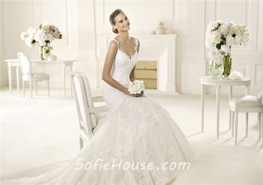Low Back Lace Wedding Gown: Sexy Mermaid Sweetheart Low Back Lace Wedding Dress With
