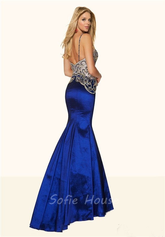 Sexy Mermaid Sweetheart Low Back Royal Blue Taffeta Beaded Prom Dress  Spaghetti Straps d41d99d0a