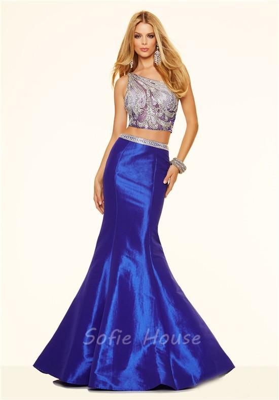 6183694fafb6 ... Sexy Mermaid Two Piece One Shoulder Royal Blue Taffeta Beaded Prom Dress  ...