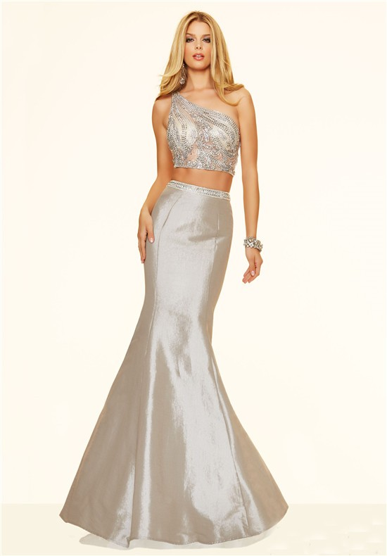 Sexy Mermaid Two Piece One Shoulder Silver Taffeta Beaded