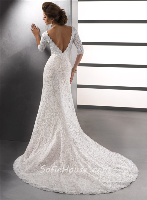 Sexy mermaid v neck empire ivory vintage lace wedding for Lace button back wedding dress