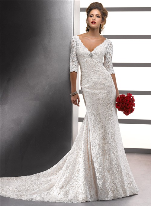 Mermaid V Neck Empire Ivory Vintage Lace Wedding Dress With Sleeves ...