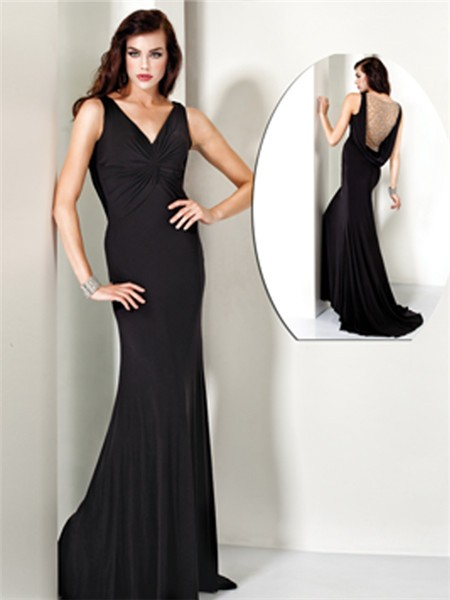 Mermaid V Neck Long Black Chiffon Evening Wear Dress Backless