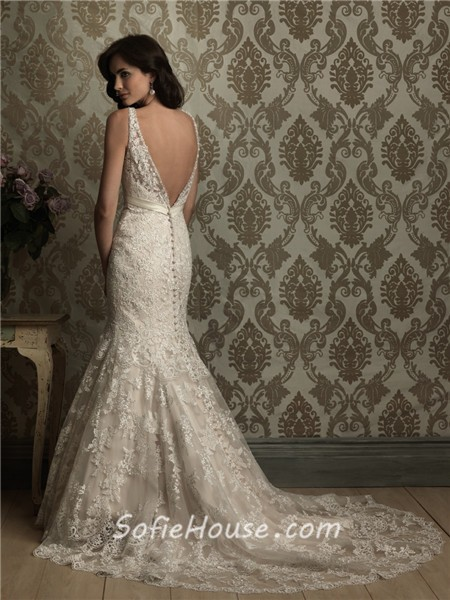 Sexy Mermaid V Neck Low Back Lace Wedding Dress With ...
