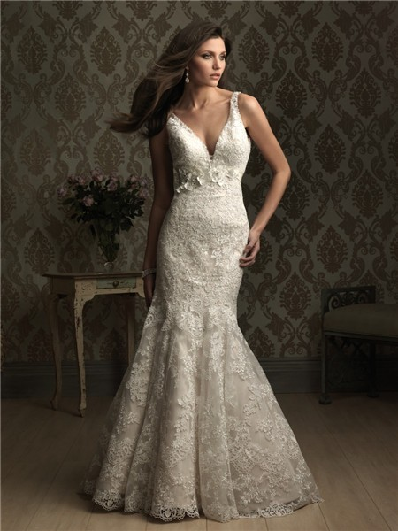 Mermaid V Neck Low Back Lace Wedding Dress With Flower Belt